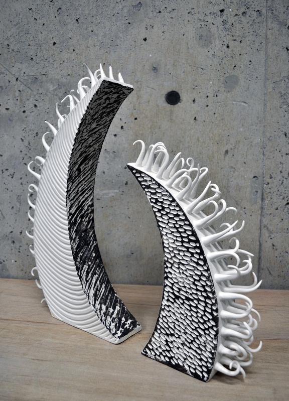 Porcelain and black slip sculptures